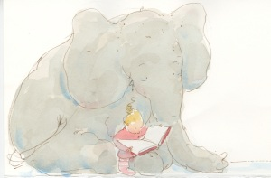 Elephant's Story by Tracey Campbell Pearson; Margaret Ferguson Books, Farrar, Straus & Giroux 2013: early sketch of Gracie Reading to Elephant.