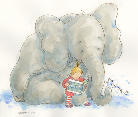 Elephant and Gracie reading Where the Wild Things Are for the Sendak Memorial Auction ABFFE 2013