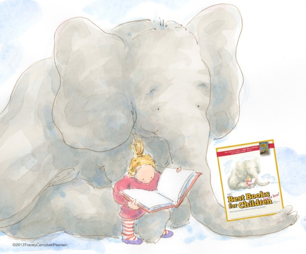 2013 ABC Best Books for Children Catalog Cover with Gracie reading to Elephant