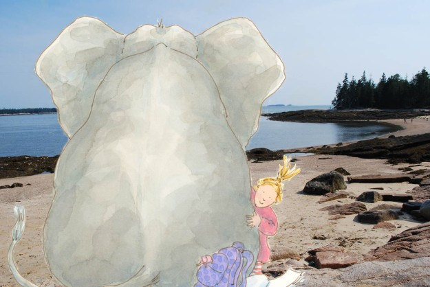 Elephant on vacation in Maine.