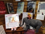 Elephant and Gracie inside the Norwich Bookstore
