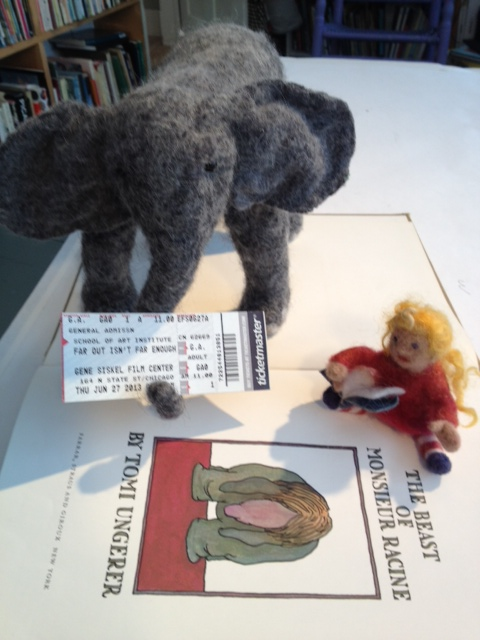 Elephant and Gracie read Tomi Ungerer
