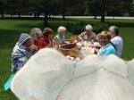 Elephant joins Mazza visitors for a picnic on the Jericho Center Green in Vermont.
